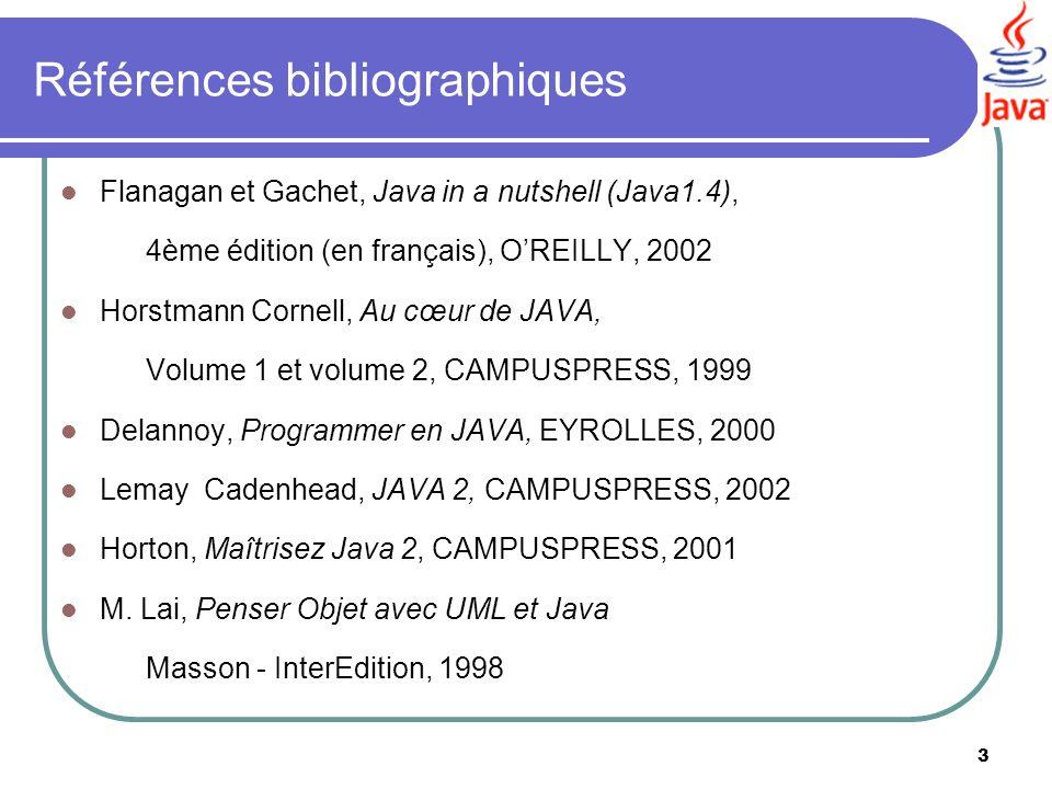 3 Références bibliographiques Flanagan et Gachet, Java in a nutshell (Java1.4), 4ème édition (en français), OREILLY, 2002 Horstmann Cornell, Au cœur d