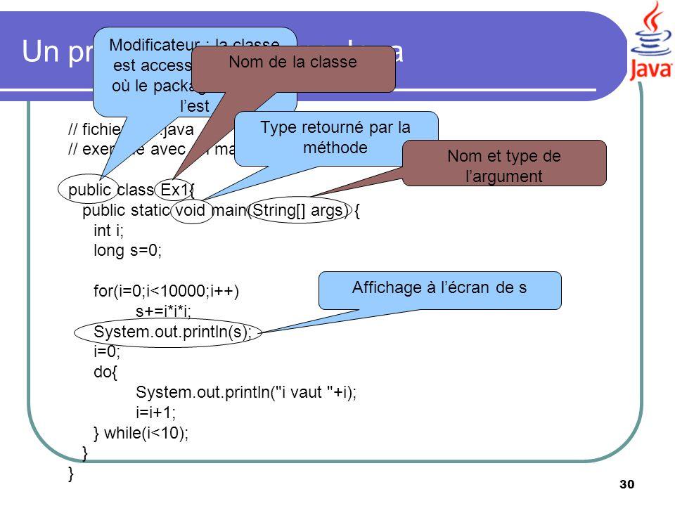 30 Un premier programme Java // fichier ex1.java // exemple avec un main comprenant deux boucles public class Ex1{ public static void main(String[] ar