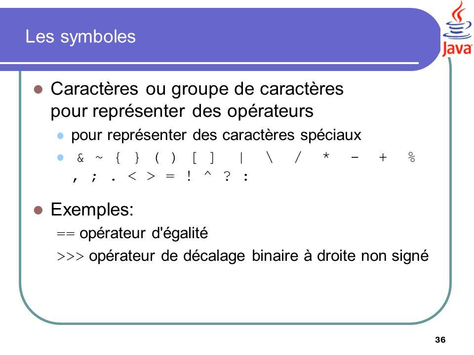 36 Les symboles Caractères ou groupe de caractères pour représenter des opérateurs pour représenter des caractères spéciaux & ~ { } ( ) [ ] | \ / * -