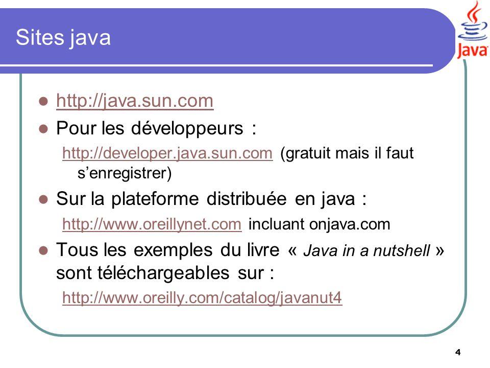 4 Sites java http://java.sun.com Pour les développeurs : http://developer.java.sun.comhttp://developer.java.sun.com (gratuit mais il faut senregistrer