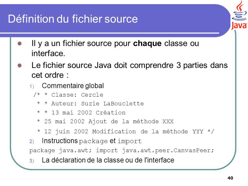 40 Définition du fichier source Il y a un fichier source pour chaque classe ou interface. Le fichier source Java doit comprendre 3 parties dans cet or