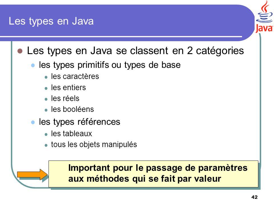 42 Les types en Java Les types en Java se classent en 2 catégories les types primitifs ou types de base les caractères les entiers les réels les boolé