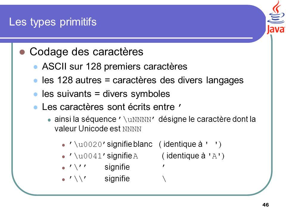 46 Les types primitifs Codage des caractères ASCII sur 128 premiers caractères les 128 autres = caractères des divers langages les suivants = divers s