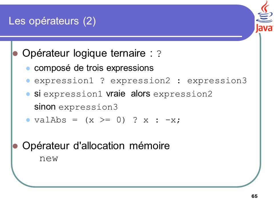 65 Les opérateurs (2) Opérateur logique ternaire : ? composé de trois expressions expression1 ? expression2 : expression3 si expression1 vraie alors e
