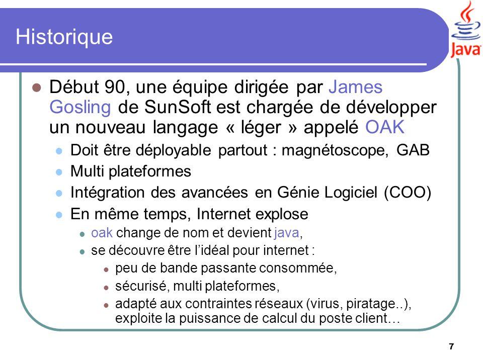 7 Historique Début 90, une équipe dirigée par James Gosling de SunSoft est chargée de développer un nouveau langage « léger » appelé OAK Doit être dép