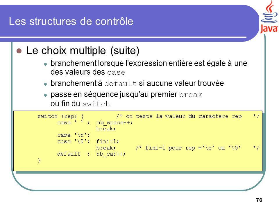 76 Les structures de contrôle Le choix multiple (suite) branchement lorsque l'expression entière est égale à une des valeurs des case branchement à de