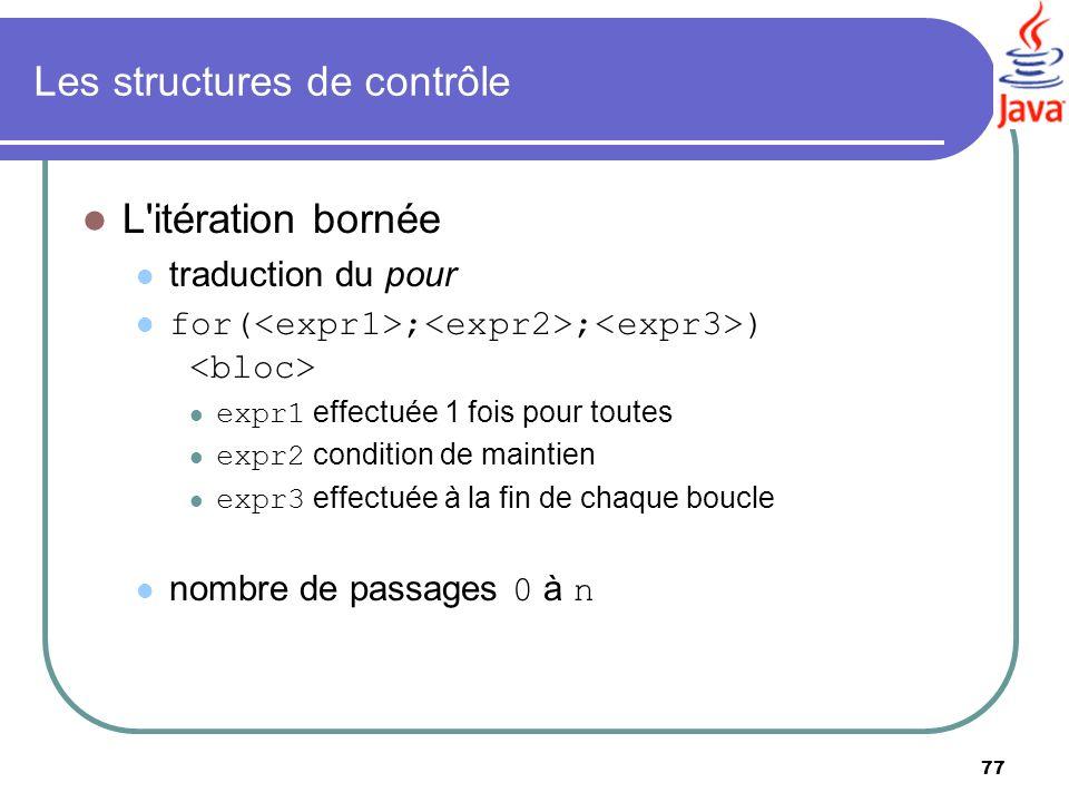 77 Les structures de contrôle L'itération bornée traduction du pour for( ; ; ) expr1 effectuée 1 fois pour toutes expr2 condition de maintien expr3 ef