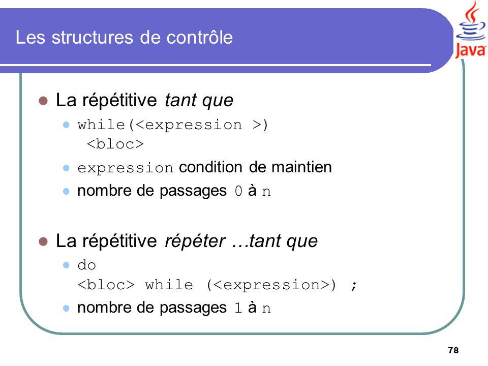 78 Les structures de contrôle La répétitive tant que while( ) expression condition de maintien nombre de passages 0 à n La répétitive répéter …tant qu