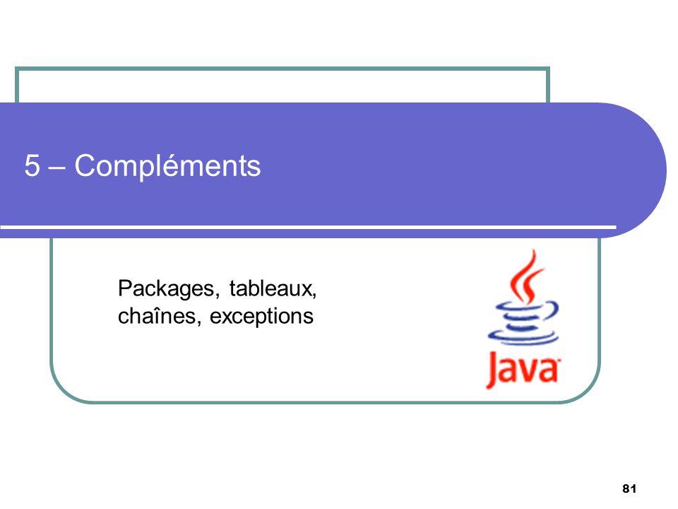 81 5 – Compléments Packages, tableaux, chaînes, exceptions