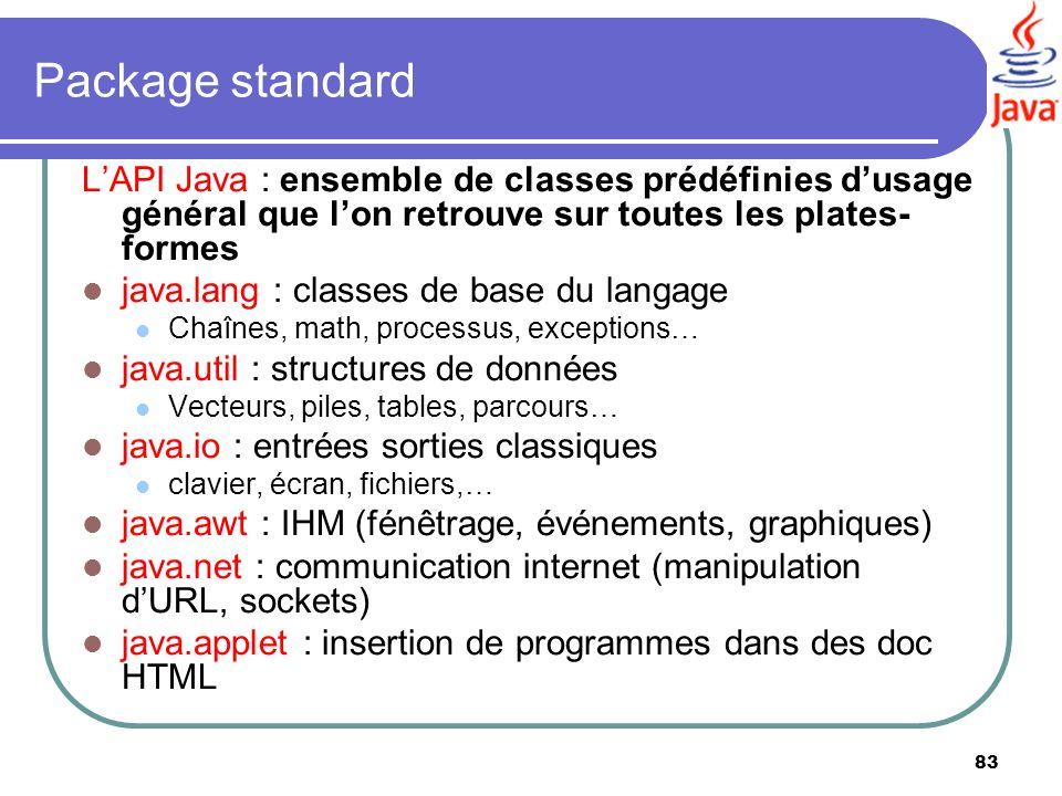 83 Package standard LAPI Java : ensemble de classes prédéfinies dusage général que lon retrouve sur toutes les plates- formes java.lang : classes de b