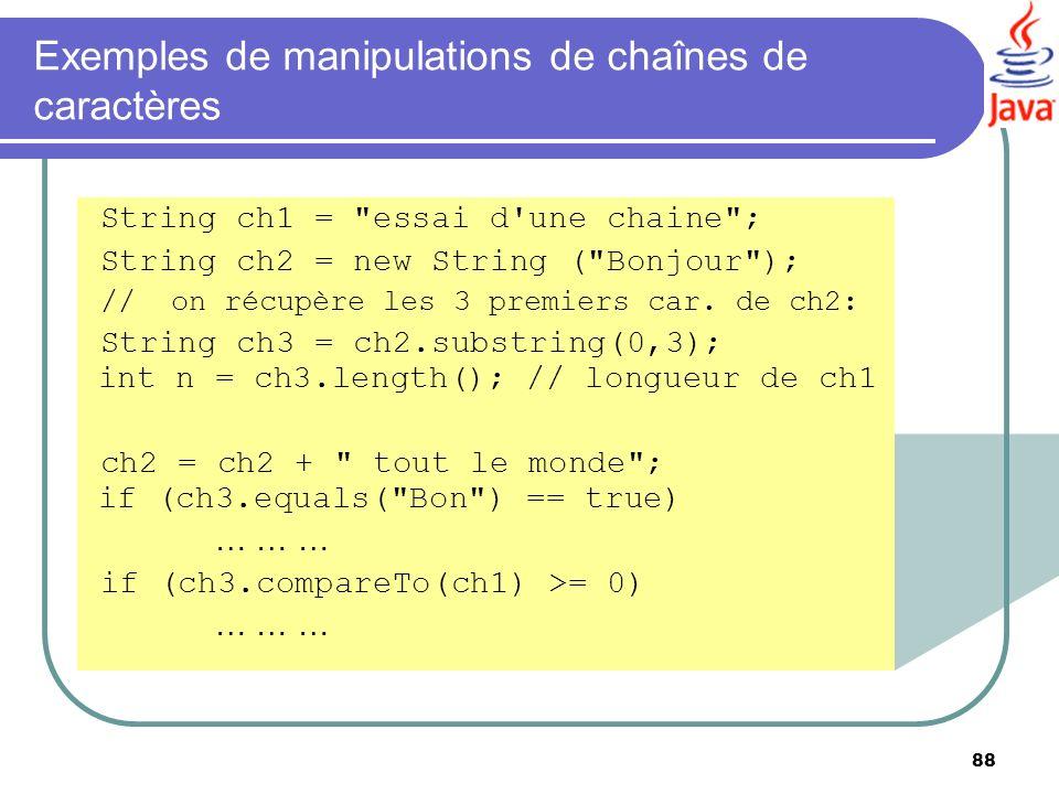 88 Exemples de manipulations de chaînes de caractères String ch1 =