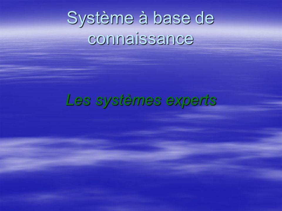 Système à base de connaissance Les systèmes experts Les systèmes experts –Un système expert est un outil capable de reproduire les mécanismes cognitifs d un expert, dans un domaine particulier.
