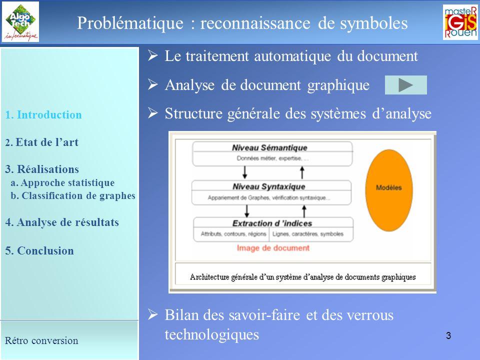 2 Le déroulement de la soutenance Présentation 1. Problématique : reconnaissance de symboles 2. Etat de lart 3. Réalisations a. Approche statistique e