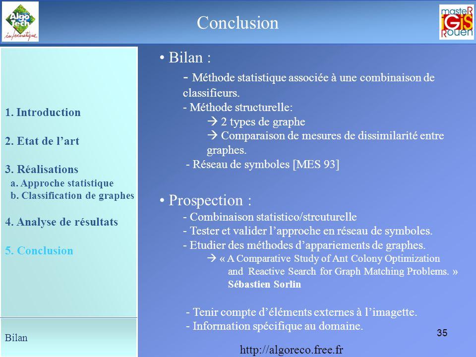 34 Le déroulement de la soutenance Analyse de résultats Problèmes : Approche statistique Sensible aux caractéristiques dacquisition de limage. Coûteus