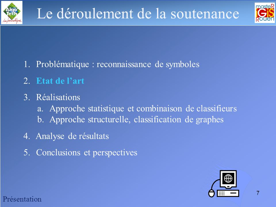 6 Le déroulement de la soutenance Contexte Industriel Développement de logiciel de schématique électrique (CAO/DAO) Projet européen EPEIRES (Évaluatio