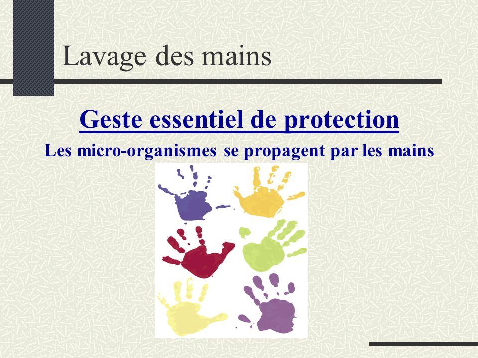Lavage des mains Geste essentiel de protection Les micro-organismes se propagent par les mains