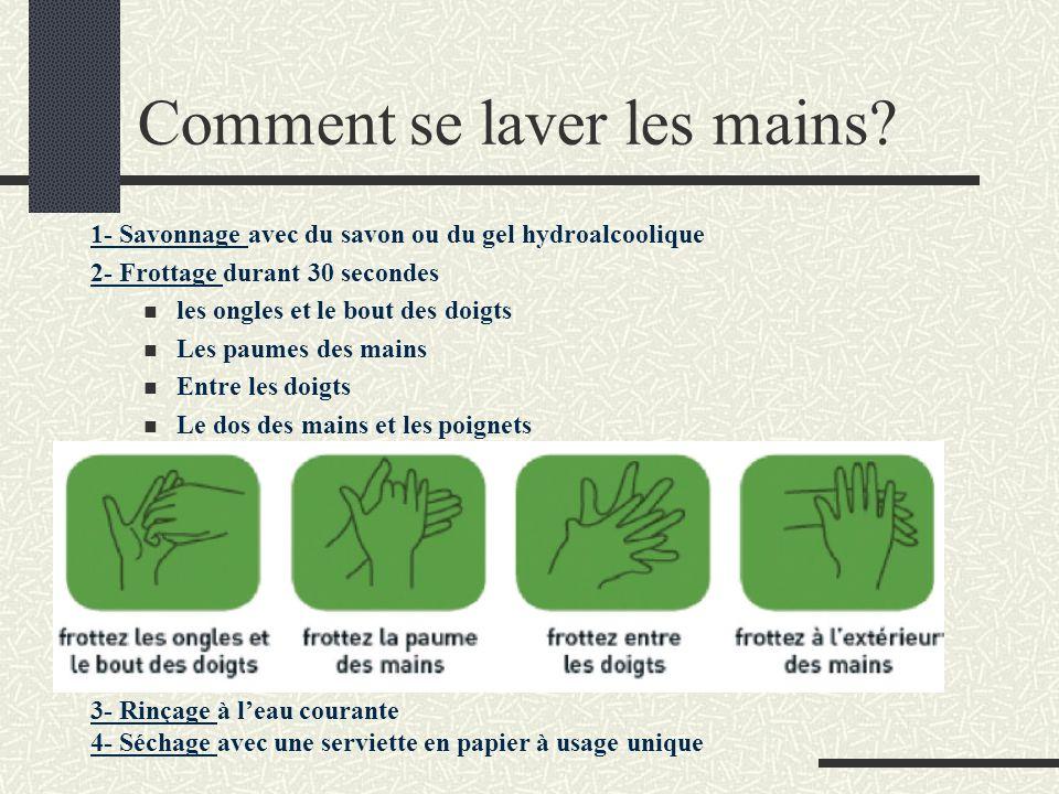 Comment se laver les mains? 1- Savonnage avec du savon ou du gel hydroalcoolique 2- Frottage durant 30 secondes les ongles et le bout des doigts Les p