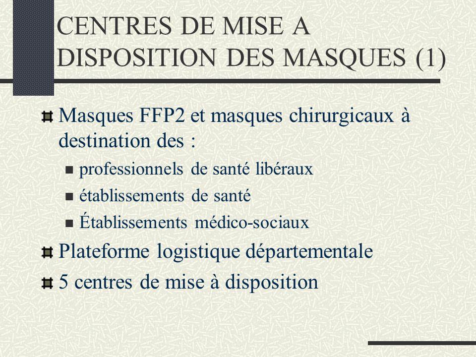 CENTRES DE MISE A DISPOSITION DES MASQUES (1) Masques FFP2 et masques chirurgicaux à destination des : professionnels de santé libéraux établissements de santé Établissements médico-sociaux Plateforme logistique départementale 5 centres de mise à disposition