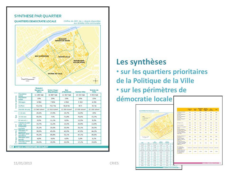 1311/01/2013CRIES Les synthèses sur les quartiers prioritaires de la Politique de la Ville sur les périmètres de démocratie locale