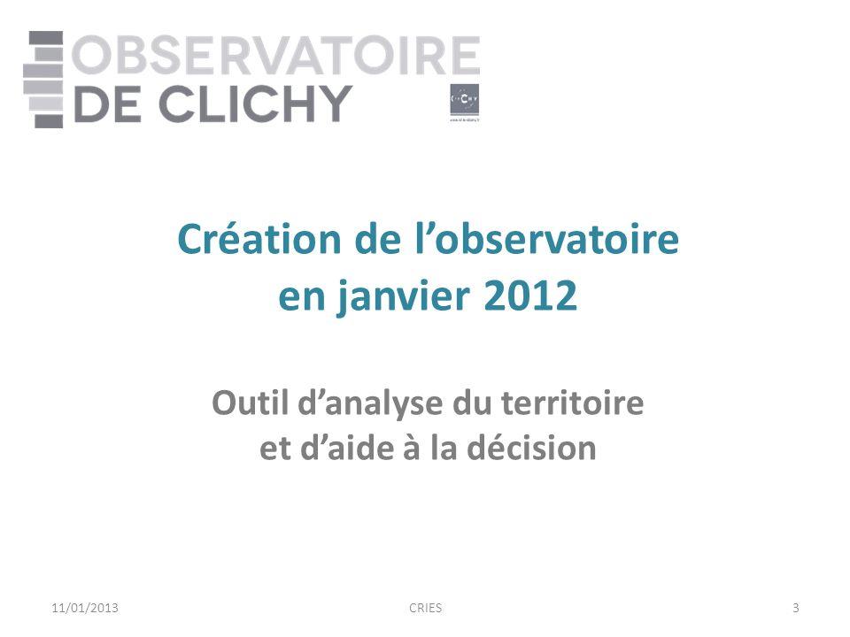 3 Création de lobservatoire en janvier 2012 Outil danalyse du territoire et daide à la décision 11/01/2013CRIES