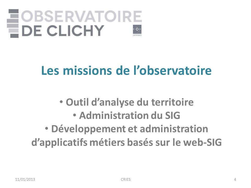 4 Les missions de lobservatoire Outil danalyse du territoire Administration du SIG Développement et administration dapplicatifs métiers basés sur le web-SIG 11/01/2013CRIES