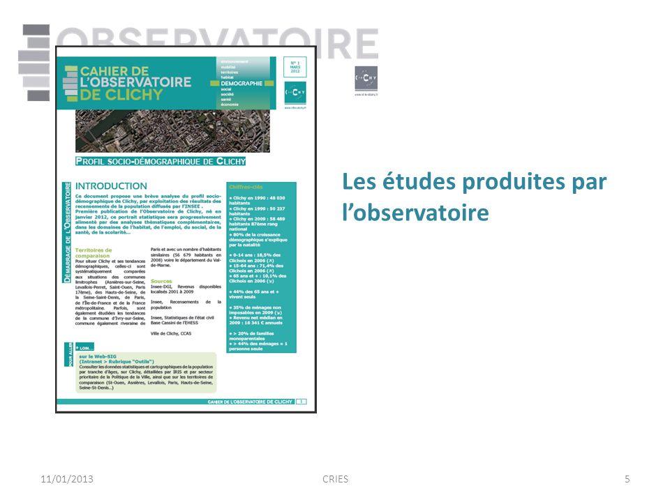 511/01/2013CRIES Les études produites par lobservatoire