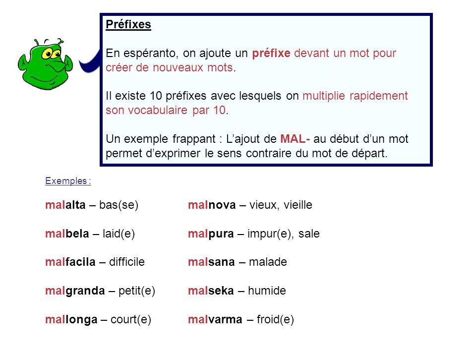 Préfixes En espéranto, on ajoute un préfixe devant un mot pour créer de nouveaux mots. Il existe 10 préfixes avec lesquels on multiplie rapidement son