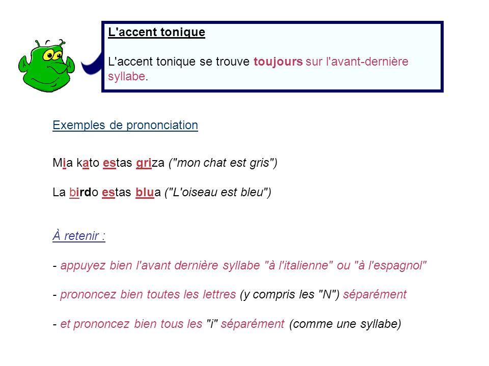 L'accent tonique L'accent tonique se trouve toujours sur l'avant-dernière syllabe. Exemples de prononciation Mia kato estas griza (