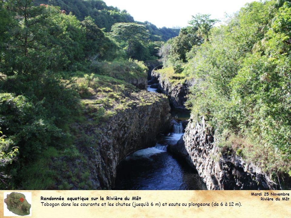 Randonnée aquatique sur la Rivière du Mât Tobogan dans les courants et les chutes (jusquà 6 m) et sauts ou plongeons (de 6 à 12 m). Mardi 25 Novembre