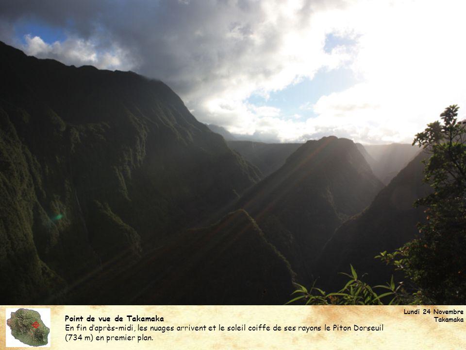 Point de vue de Takamaka En fin daprès-midi, les nuages arrivent et le soleil coiffe de ses rayons le Piton Dorseuil (734 m) en premier plan. Lundi 24