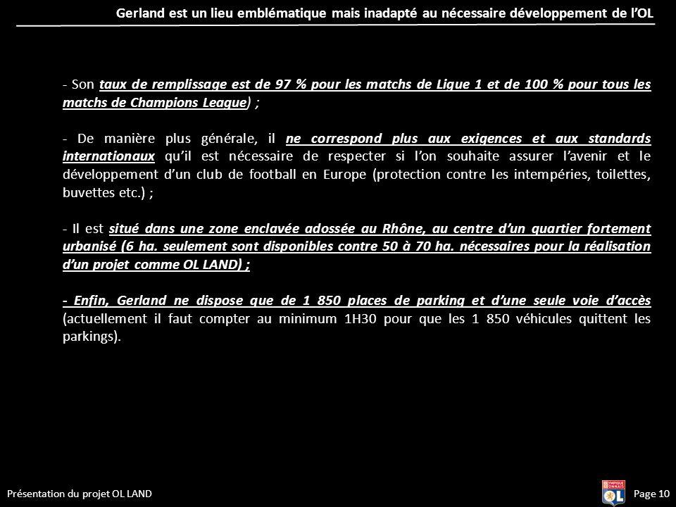 Page 10Présentation du projet OL LAND - Son taux de remplissage est de 97 % pour les matchs de Ligue 1 et de 100 % pour tous les matchs de Champions L