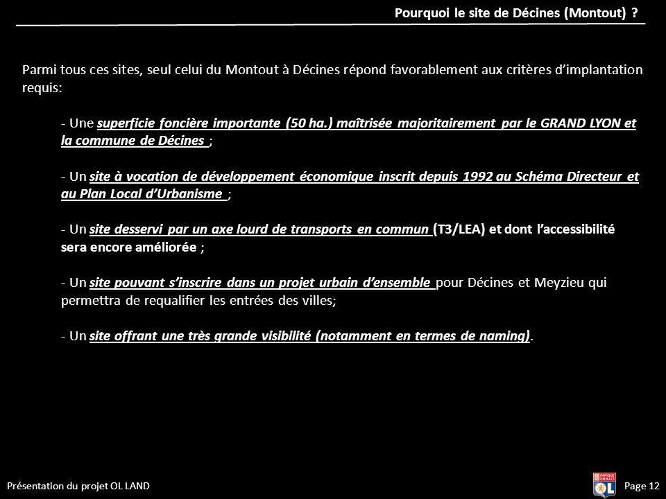 Page 12Présentation du projet OL LAND Parmi tous ces sites, seul celui du Montout à Décines répond favorablement aux critères dimplantation requis: -
