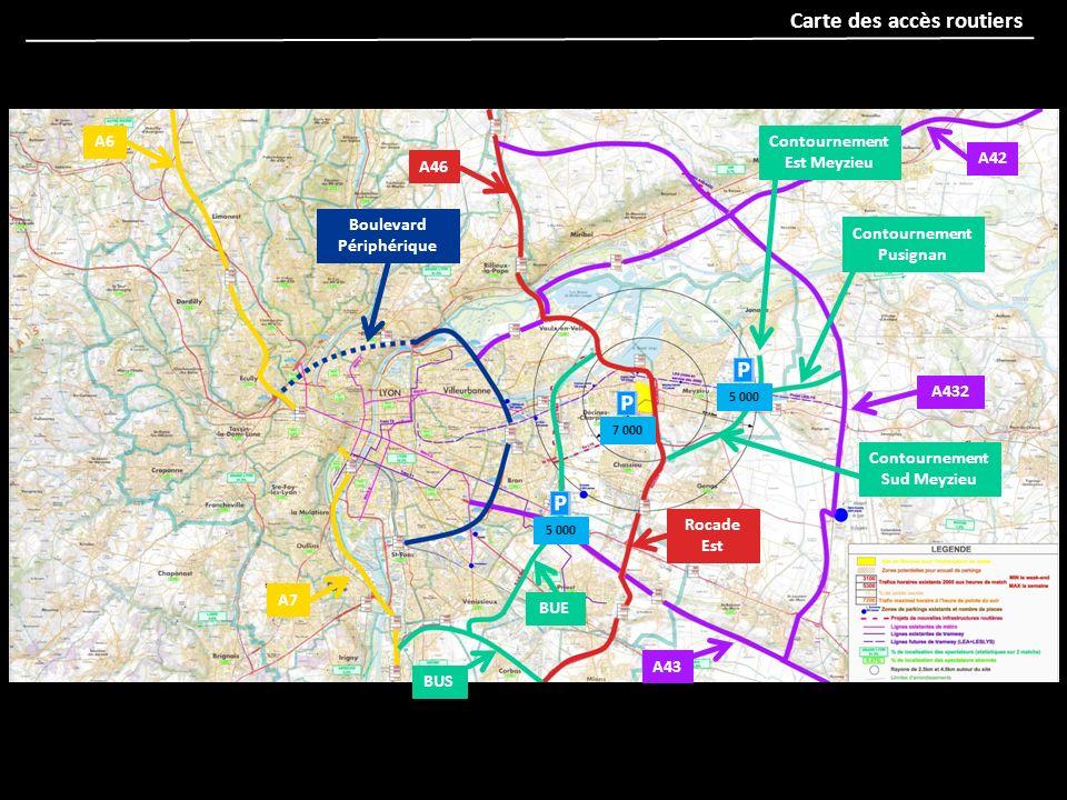 A6 A7 BUS BUE Contournement Sud Meyzieu Contournement Pusignan Contournement Est Meyzieu A46 Rocade Est A42 A432 A43 5 000 7 000 5 000 Boulevard Périp