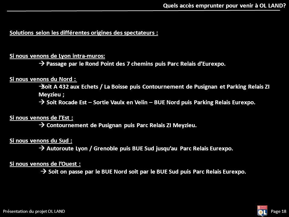 Page 18Présentation du projet OL LAND Solutions selon les différentes origines des spectateurs : Si nous venons de Lyon intra-muros: Passage par le Ro