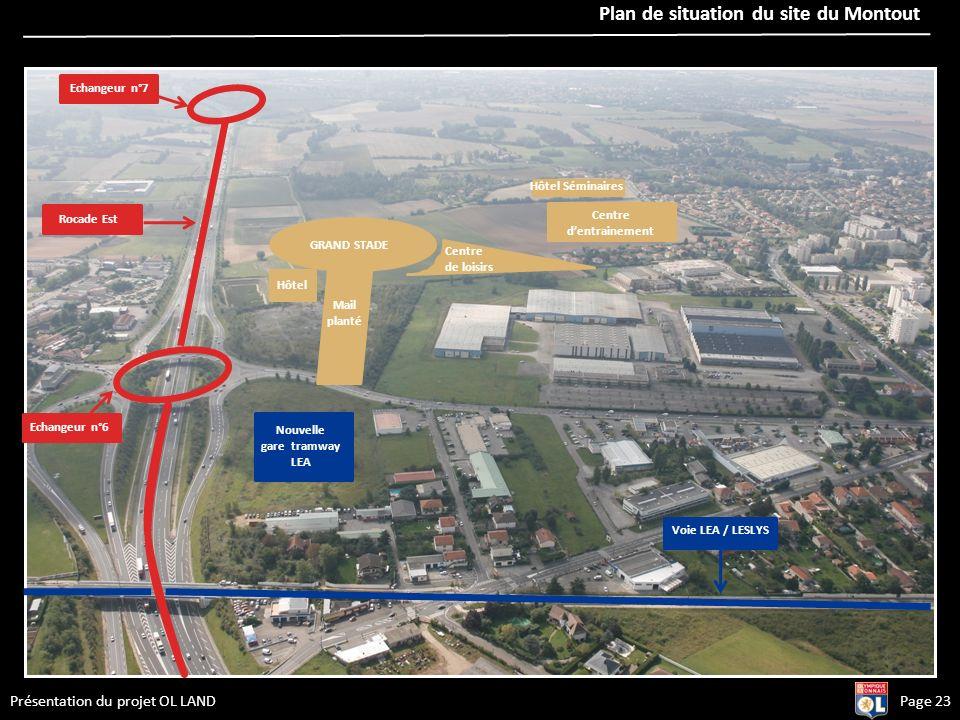 Page 23Présentation du projet OL LAND © BUFFI & Associés Plan de situation du site du Montout Echangeur n°6 Nouvelle gare tramway LEA Rocade Est GRAND