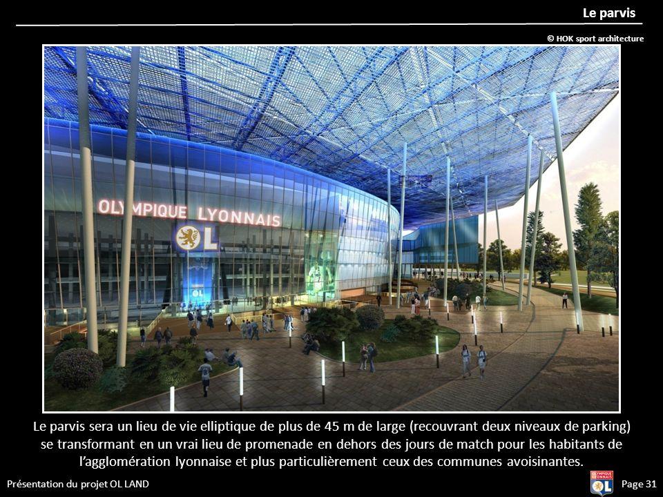 Présentation du projet OL LANDPage 31 Le parvis Le parvis sera un lieu de vie elliptique de plus de 45 m de large (recouvrant deux niveaux de parking)