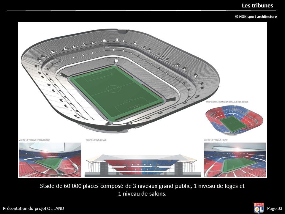 Présentation du projet OL LANDPage 33 Les tribunes Stade de 60 000 places composé de 3 niveaux grand public, 1 niveau de loges et 1 niveau de salons.