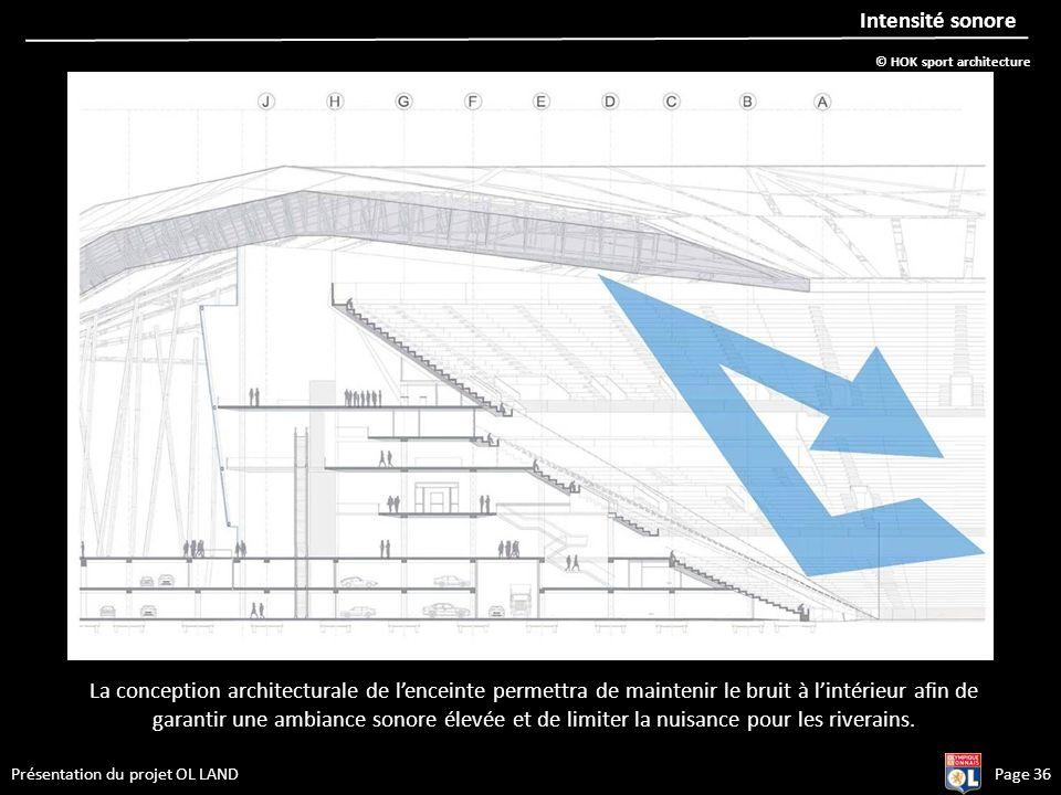 Présentation du projet OL LANDPage 36 Intensité sonore La conception architecturale de lenceinte permettra de maintenir le bruit à lintérieur afin de