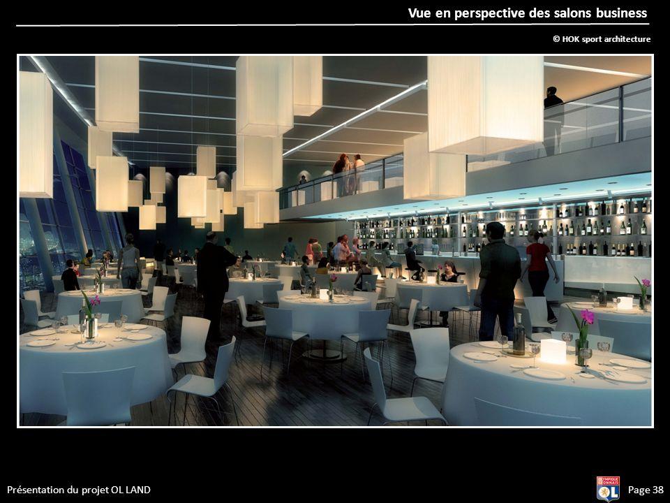 Présentation du projet OL LANDPage 38 Vue en perspective des salons business © HOK sport architecture
