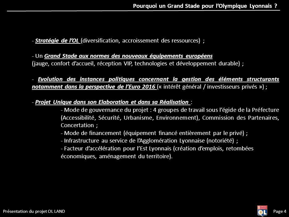 Page 4Présentation du projet OL LAND - Stratégie de lOL (diversification, accroissement des ressources) ; - Un Grand Stade aux normes des nouveaux équ