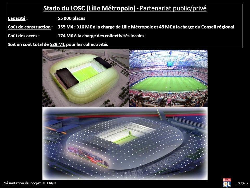 Page 6Présentation du projet OL LAND Stade du LOSC (Lille Métropole) - Partenariat public/privé Capacité : 55 000 places Coût de construction : 355 M