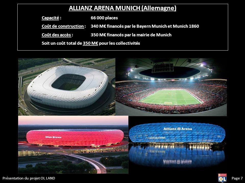 Page 7Présentation du projet OL LAND ALLIANZ ARENA MUNICH (Allemagne) Capacité : 66 000 places Coût de construction : 340 M financés par le Bayern Mun
