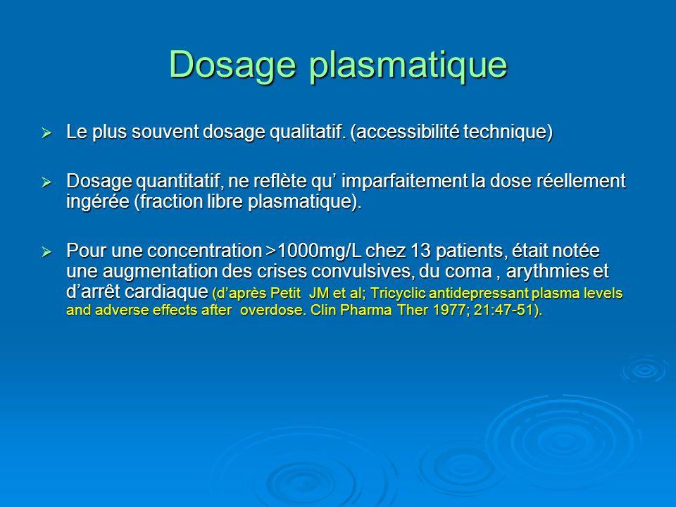 Dosage plasmatique Le plus souvent dosage qualitatif. (accessibilité technique) Le plus souvent dosage qualitatif. (accessibilité technique) Dosage qu