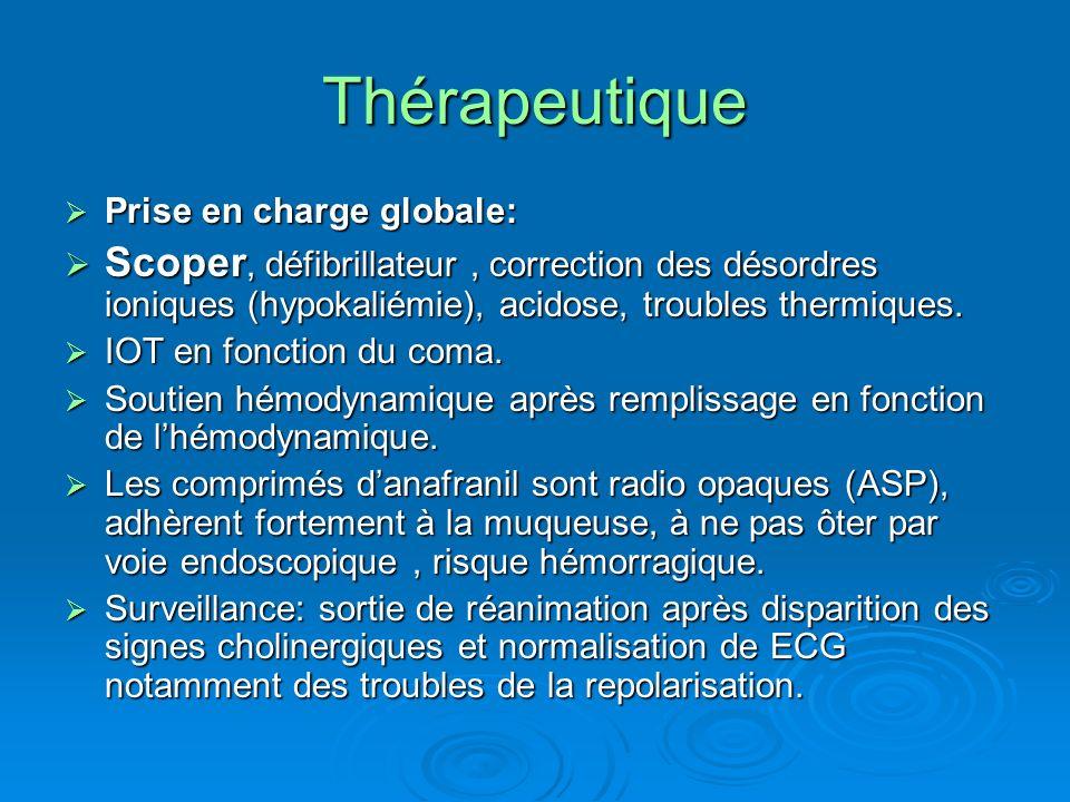 Thérapeutique Prise en charge globale: Prise en charge globale: Scoper, défibrillateur, correction des désordres ioniques (hypokaliémie), acidose, tro
