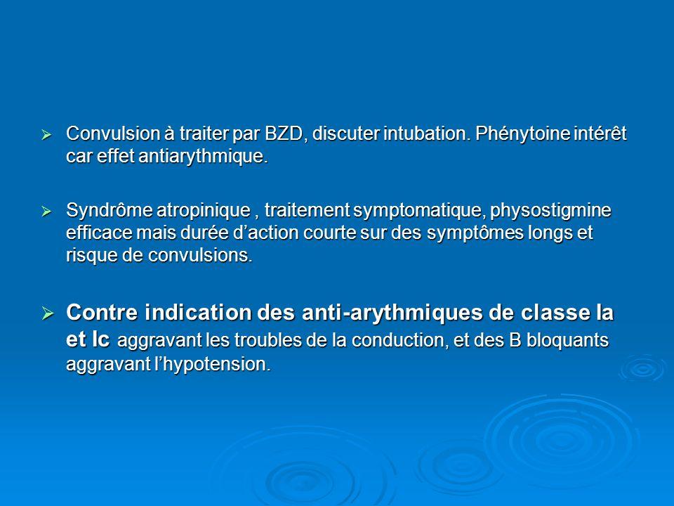 Convulsion à traiter par BZD, discuter intubation. Phénytoine intérêt car effet antiarythmique. Convulsion à traiter par BZD, discuter intubation. Phé