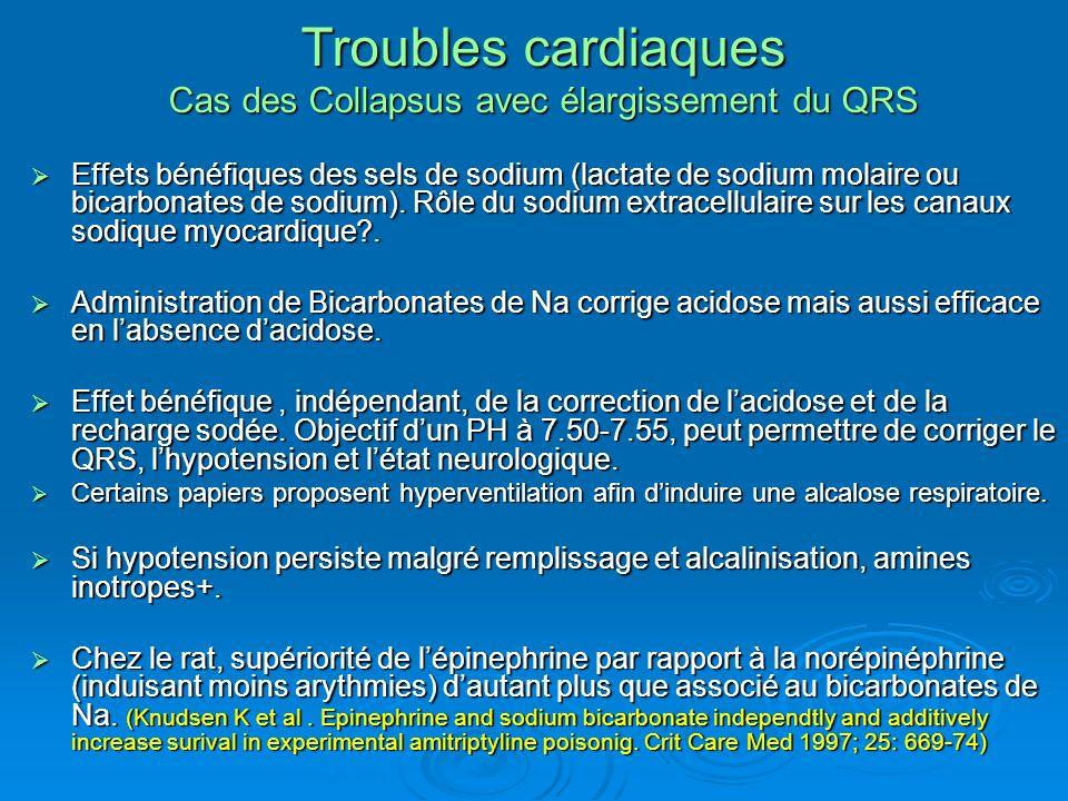 Troubles cardiaques Cas des Collapsus avec élargissement du QRS Effets bénéfiques des sels de sodium (lactate de sodium molaire ou bicarbonates de sod