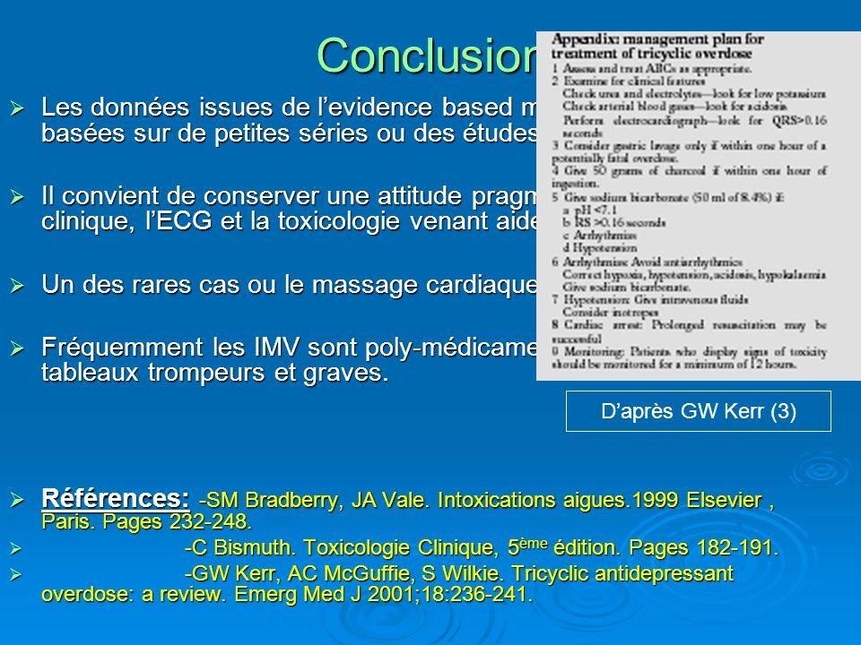 Conclusion Daprès GW Kerr (3) Les données issues de levidence based medicine sont limitées, basées sur de petites séries ou des études animales. Les d
