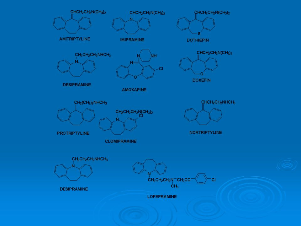 Introduction Apparition dans les années 50, premier antidépresseurs tricyclique, imipranin (tofranil) en 1957.