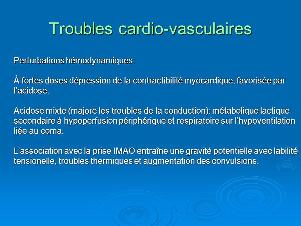 Troubles cardio-vasculaires Perturbations hémodynamiques: À fortes doses dépression de la contractibilité myocardique, favorisée par lacidose. Acidose