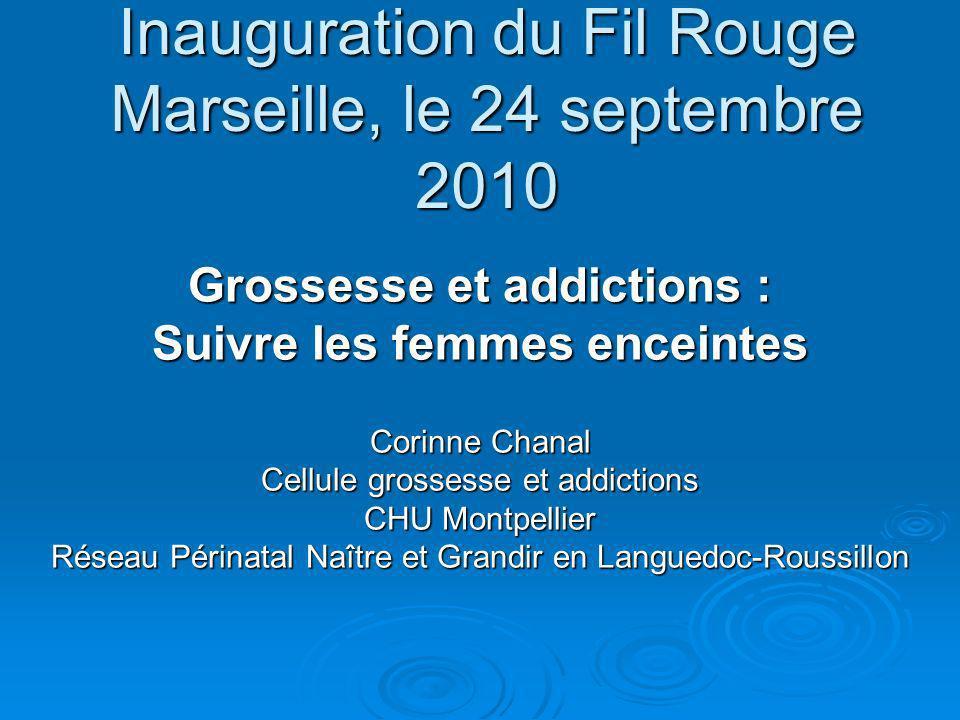Inauguration du Fil Rouge Marseille, le 24 septembre 2010 Grossesse et addictions : Suivre les femmes enceintes Corinne Chanal Cellule grossesse et ad